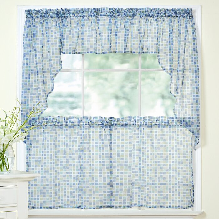 Tiles Block Sheer Kitchen Curtains Tier, Valance and Swag Set