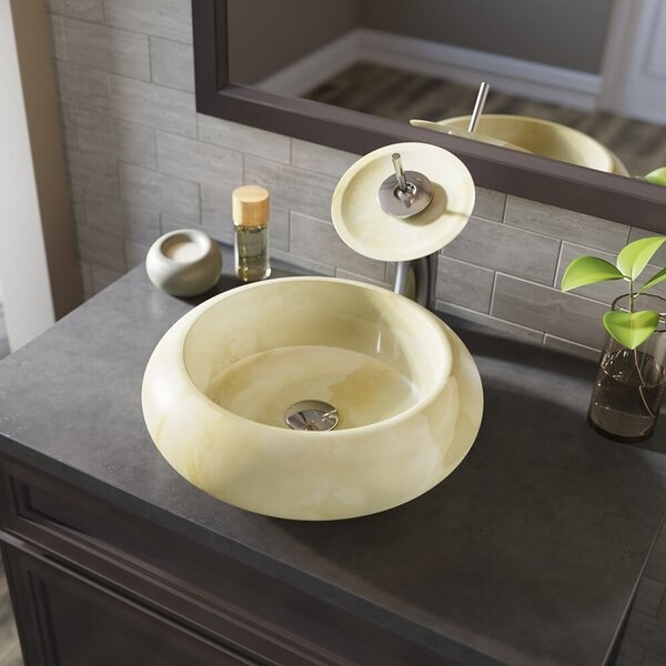 Stone Circular Vessel Bathroom Sink with Faucet by MR Direct