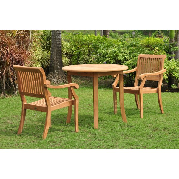 Mashburn 3 Piece Teak Bistro Set by Rosecliff Heights