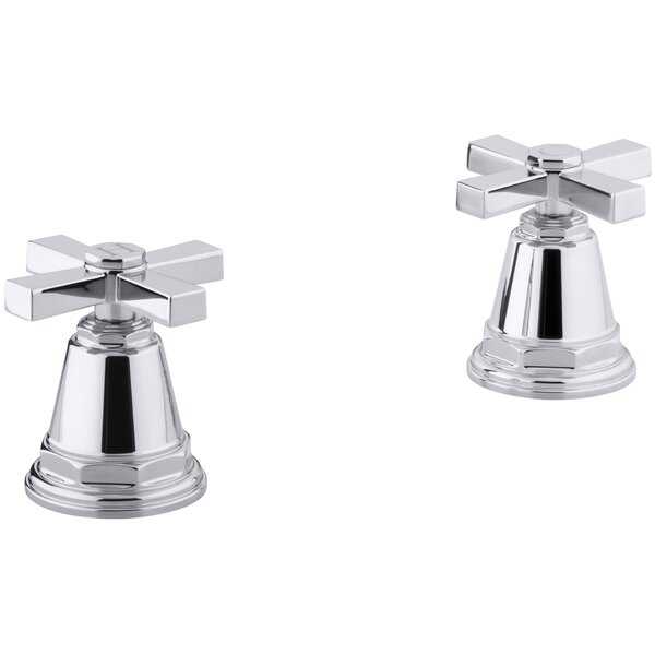 Pinstripe Pure Deck-Mount High-Flow Bath Valve Trim with Cross Handles, Handles Only, Valve Not Included by Kohler