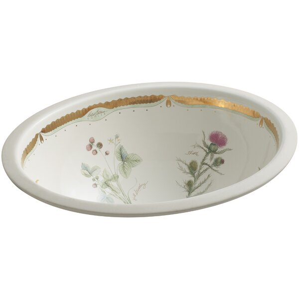 Prairie Flowers Ceramic Oval Undermount Bathroom Sink by Kohler