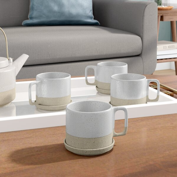 Bevill Coffee Mug with Saucer (Set of 4) by Langley Street