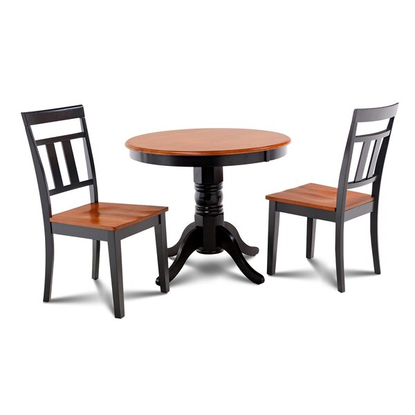 Cedarville 3 Piece Carved Solid Wood Dining Set by Alcott Hill