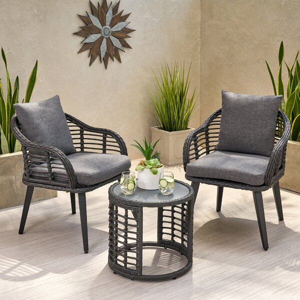 Coddington Outdoor Modern Boho 3 Piece Rattan Seating Group with Cushions by Bungalow Rose