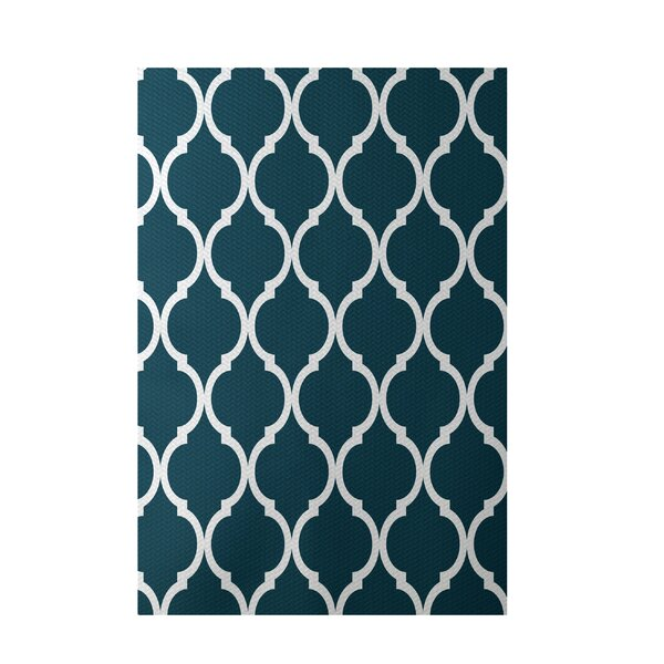 French Quarter Geometric Print Deep Sea Indoor/Outdoor Area Rug by e by design