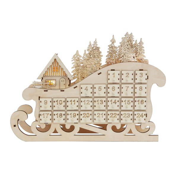 Wood Sleigh Advent Calendar with 24 Drawers and LED Light by The Holiday Aisle