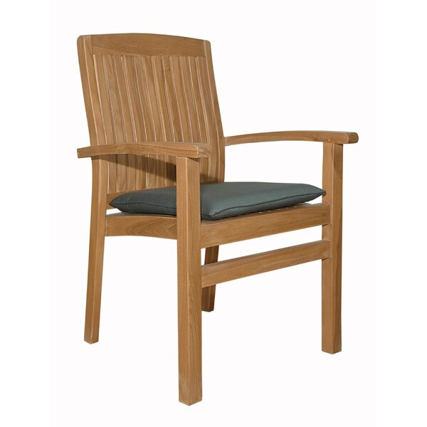 Mccarty Stacking Teak Patio Dining Chair with Cushion by Rosecliff Heights