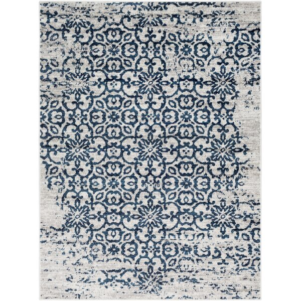 Ranck Distressed Taupe/Navy Area Rug by Bungalow Rose
