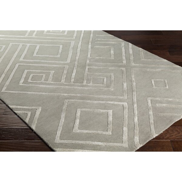 Vazquez Hand-Tufted Geometric Gray Area Rug by Wrought Studio