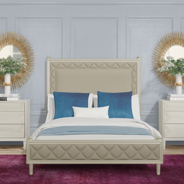 Diamond Quilted Upholstered Standard Bed by Caracole Classic