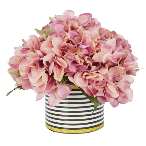 Hydrangea Bouquet Floral Arrangement in Striped Pot by Willa Arlo Interiors
