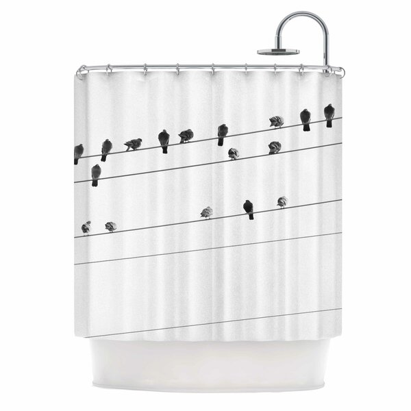 Birds on Wire by Qing Ji Shower Curtain by East Urban Home