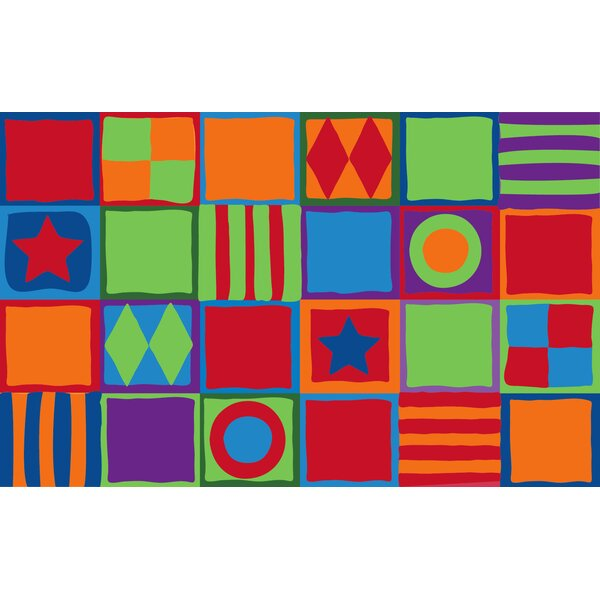 Patterned Squares Area Rug by Kid Carpet