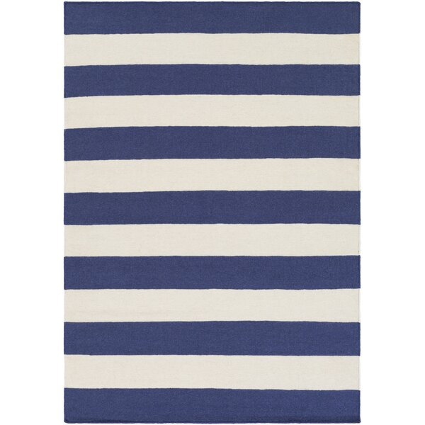 Stonebridge Hand-Woven Wool Navy/White Area Rug by Breakwater Bay