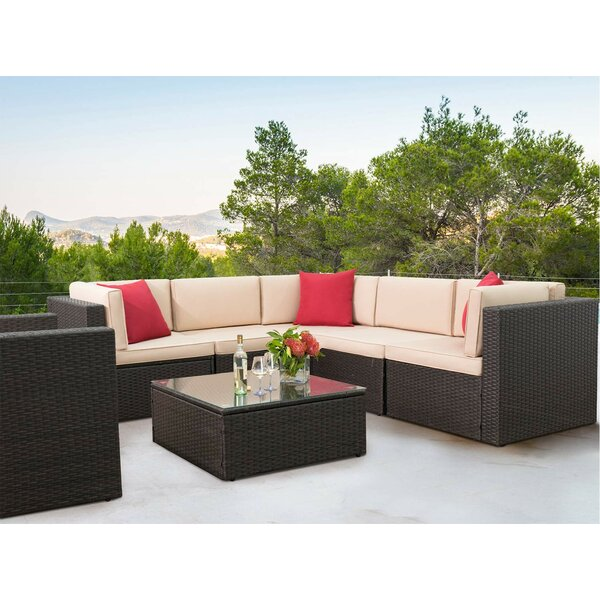 Omar 7 Piece Sectional Seating Group with Cushions by Brayden Studio