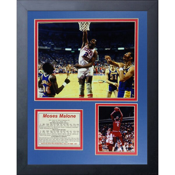 Moses Malone Framed Memorabilia by Legends Never Die