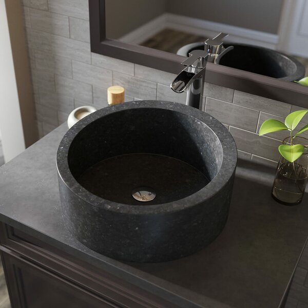 Honed Basalt Stone Circular Vessel Bathroom Sink with Faucet