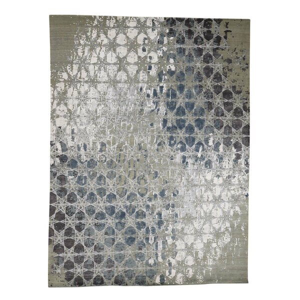 One-of-a-Kind Nevitt The Honeycomb Award Winning Hand-Knotted Silk Green Area Rug by Williston Forge