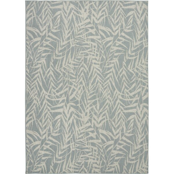 Roxy Leaves Light Blue Indoor/Outdoor Area Rug by Bay Isle Home