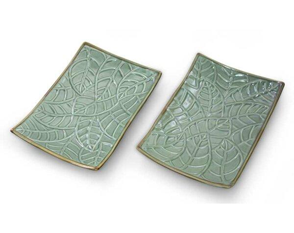 Betel Leaf Hand-crafted Ceramic Platter (Set of 2) by Novica