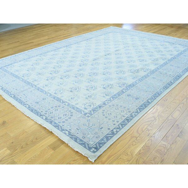 One-of-a-Kind Bearer Turkish Knot Cropped Handwoven Ivory Wool Area Rug by Isabelline