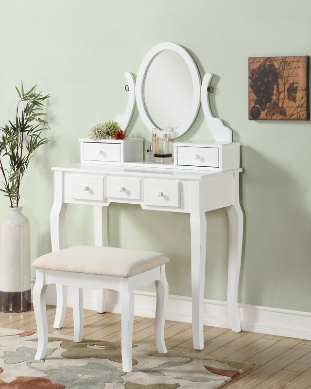 white corner makeup vanity. Zeke Wood Makeup Vanity Set with Mirror Corner Table  Wayfair