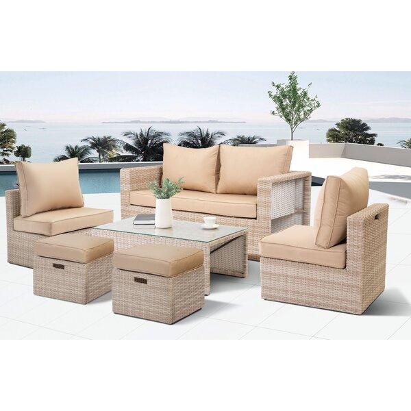 Wetumka 6 Piece Rattan Sofa Seating Group with Cushions by Bay Isle Home Bay Isle Home