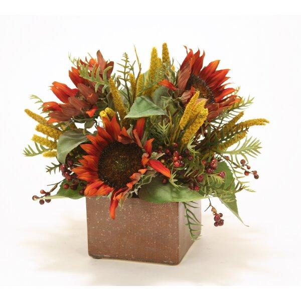 Rust Sunflowers in Autumn Ceramic Planter by Distinctive Designs