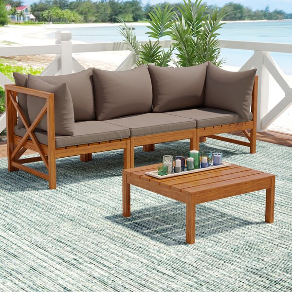 Sanibel 4 Piece Sectional Seating Group with Cushions by Beachcrest Home