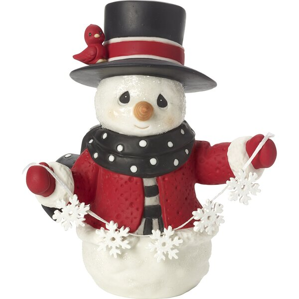 May All Your Christmases Be White Eighth in Annual Snowman Series Bisque Porcelain Figurine by Precious Moments