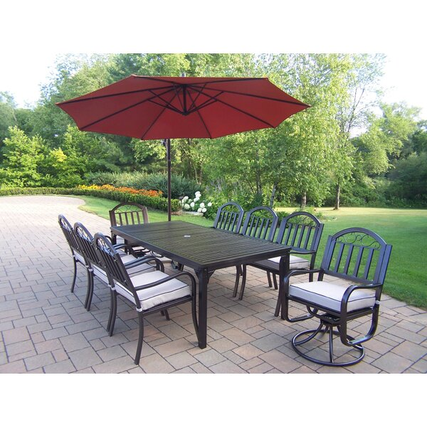 Lisabeth Modern 9 Piece Dining Set with Cushions and Umbrella by Red Barrel Studio