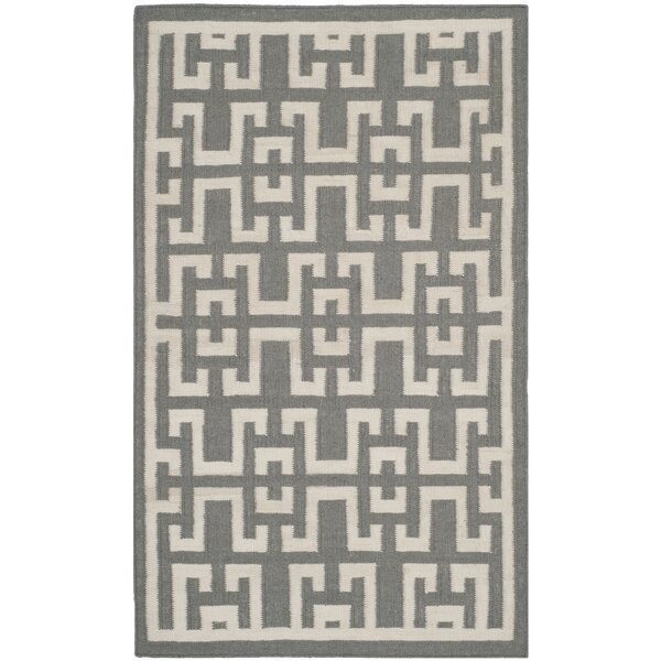 Dhurries Soft Grey /  Ivory Moroccan Area Rug by Safavieh