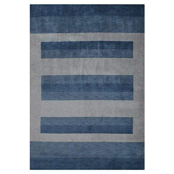 Ry Hand-Woven Wool Light Blue Area Rug by Latitude Run