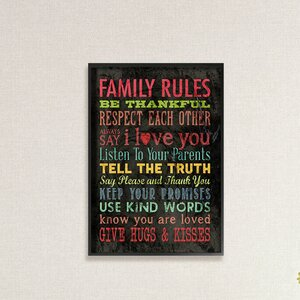 'Family Rules' Chalkboard Look Typography Textual Art by Stupell Industries