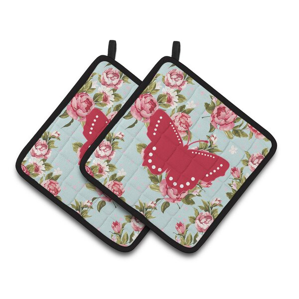 Butterfly Shabby Elegance Roses Black Trim Frabic Potholder (Set of 2) by East Urban Home