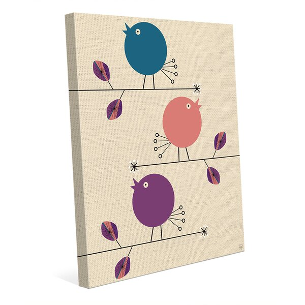 Baby Birds Turquoise Graphic Art on Wrapped Canvas by Click Wall Art