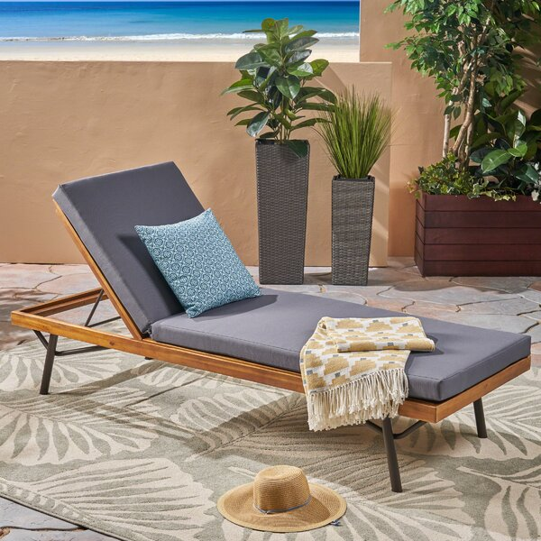 Berghauser Reclining Chaise Lounge with Cushion by Union Rustic Union Rustic