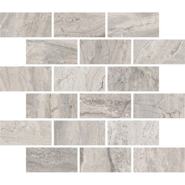 Amalfi 11.5 x 11.5 Ceramic Mosaic Tile in Bianco Scala by Interceramic