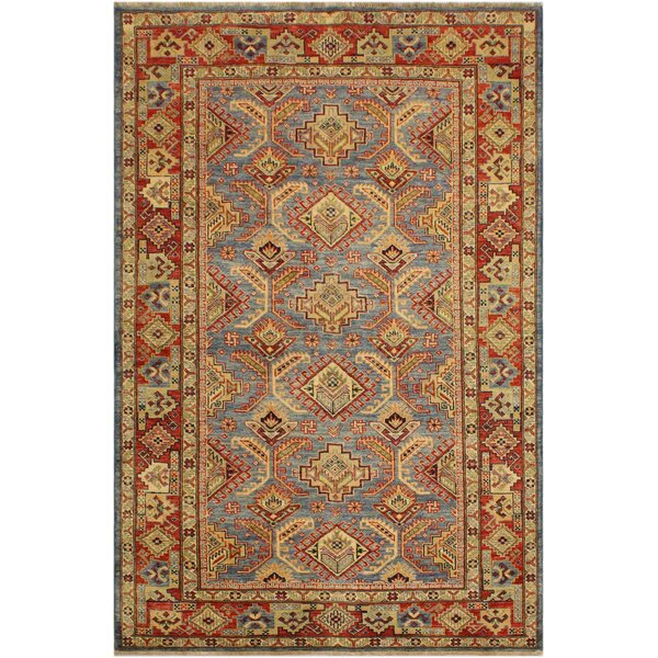 One-of-a-Kind Feldt Super Kazak Hand-Knotted Wool Light Blue/Rust Area Rug by Isabelline