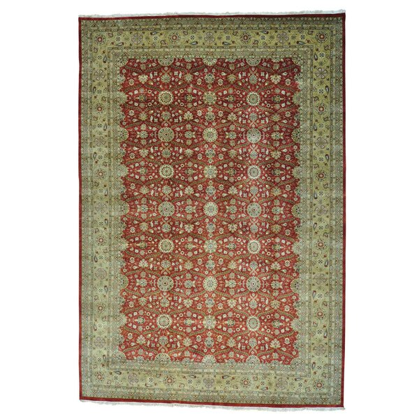 One-of-a-Kind Averill Hand-Knotted 2010s Anatolian Red/Ivory 12'3 x 17'10 Area Rug