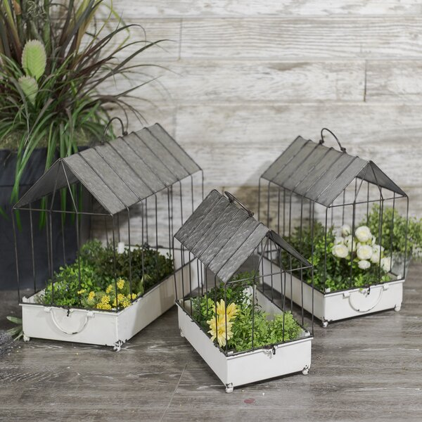 Wozniak Vintage Metal Caged 3-Piece Planter Box Set by Gracie Oaks