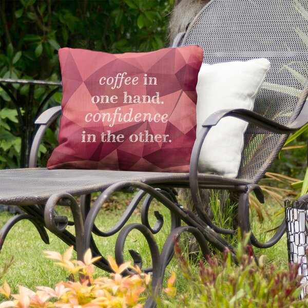 Coffee and Confidence Indoor/Outdoor Throw Pillow
