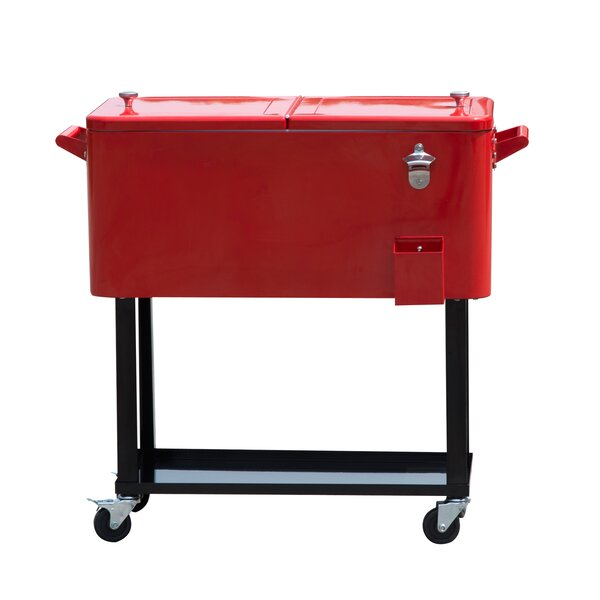 80 Qt. Rolling Portable Drink Cooler Cart by Outsunny