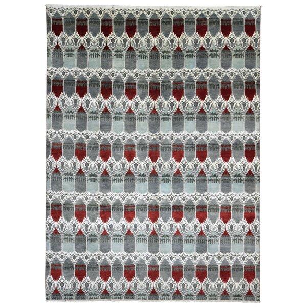 One-of-a-Kind Ellerbe Modern Oriental Hand Woven Wool/Silk Blue/Red Area Rug by Bloomsbury Market