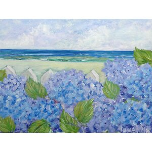 'Hydrangeas at Sea' by Brendan Loughlin Painting Print on Wrapped Canvas by Buy Art For Less