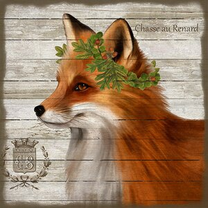 'French Lodge Fox' by Suzanne Nicholl Graphic Art Print on Wood by Red Horse Arts
