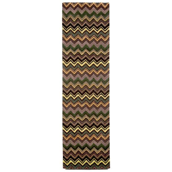 Shelburne Green Zigzag Stripe Rug by Latitude Run