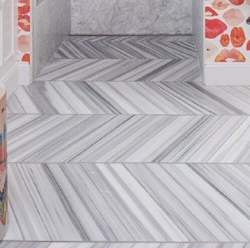 Metro 3 x 6 Marble Subway Tile in Vein Cut Honed White by Emser Tile