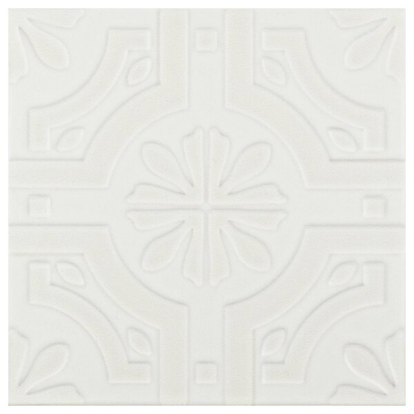 Tres 7.75 x 7.75 Ceramic Field Tile in Real White