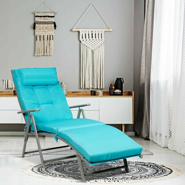 Amrom Folding Chaise Lounge with Cushion (Set of 2)